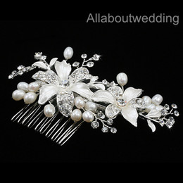 Wholesale High quality Crystal pearl Stunning wedding bridal crystal flora hair accessory headpiece