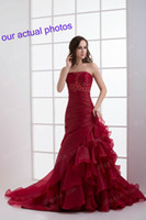 Wholesale Red Wine A Line Wedding Dresses Sweetheart Lace Up Back Applique Sequin Bodice Ruffles Chapel Train