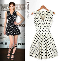 Wholesale 2013 New HOT Spring summer Women s Casual Dresses V neck Polka Dot Slim Fold Sleeveless Dress