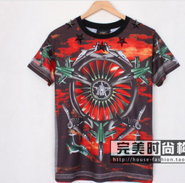Wholesale Seiko new metal pentagram red aircraft European and American couple short sleeved T shirt