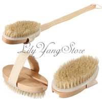 Wholesale Natural Long Wood Wooden Body Brush Massager Bath Shower Back Spa Scrubber Home