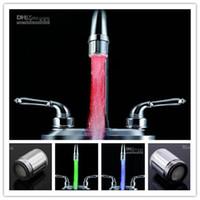 Wholesale 10pcs LED faucet Color Water Glow LED Faucet Light Temperature Sensor