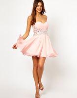 Wholesale 2015 New Sexy Beads Ruffle Short Chiffon Sweetheart Wedding Dresses Party Dresses Prom Dress RL210