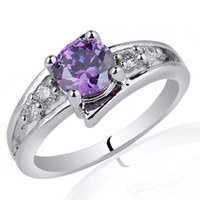 With Side Stones amethyst promise rings - 6mm Round Stone Promise Ring Purple Amethyst Sterling Silver Ring NAL R016 Size