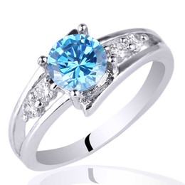 6mm Round Stone Promise Ring Blue Topaz .925 Sterling Silver Ring NAL R016