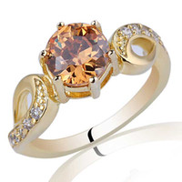 With Side Stones Women's Anniversary Ladies 7mm Round Brown Citrine Gold Plated .925 Sterling Silver Ring NAL R018
