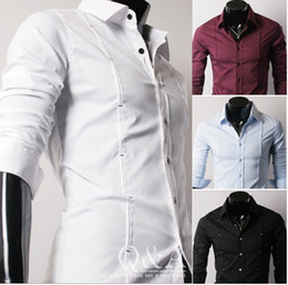 Wholesale personality Double row Bartacking Cultivate one s morality leisure men Long sleeve shirt
