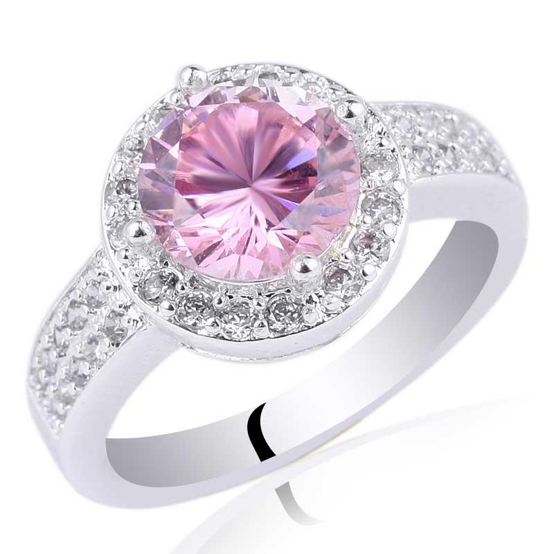 Women\'s Round Engagement Ring Pink Cubic Zirconia .925 Sterling Silver Ring  NAL R033 Size 6