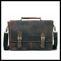 Hard Bags crazy horse leather - VINTAGE Messenger Bag for Laptop Crazy Horse Leather Mens Business Briefcase Handbag LT12