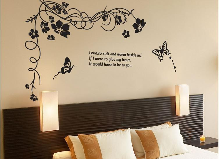 Black Butterfly Plane Wall Stickers Tv Backdrop Decoration Living Room Bedroom