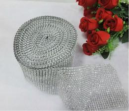Wholesale 4 quot yard Wedding Favor Decoration Diamond Mesh Rhinestone Ribbon Crystal Wrap Silver