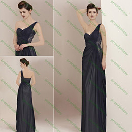 Wholesale 2013 In Stock S M L XL XXL Black Sheath Goddess One Shoulder Chiffon Wedding Evening Party Dresses