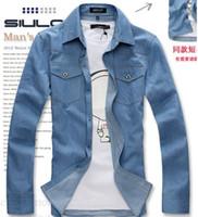 Wholesale Mens Jeans Shirt Cowboy Shirt Metal Button Light Blue Black Men Denim Shirt Size M XXL CF01