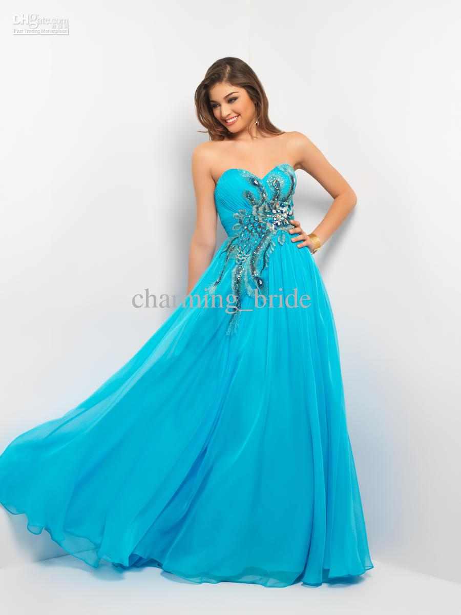 Ocean blue evening dresses