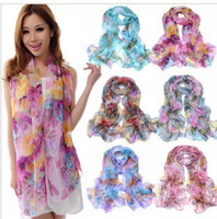 Wholesale Korean version Spring Autumn scarf long section of silk flowers Wraps
