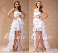 Wholesale 2013 High Low Prom Dresses Sweetheart A line Short Front Long Back Applique Beads Layered Party Gown