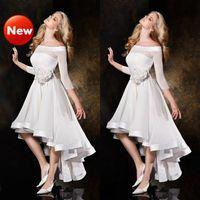 A-Line Portait шифон короткий передний длинный задний аппликация три четверти рукава Люкс Свадебное платье
