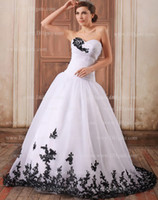 Wholesale Simple Elegant A Line Sweetheart Ruffled Bodice Organza Black Embroidered Wedding Dress Court Trains
