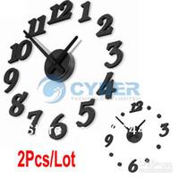 Wholesale 2Pcs Fashion Adhesive Wall Clock Home Decorations DIY Clocks Retail amp