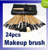Professional Makeup Set leather tools - 24Pcs Professional Makeup Cosmetic Brush Set Kit Tool Roll Up Black Faux Leather Case