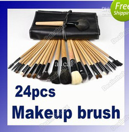 Wholesale 24Pcs Professional Makeup Cosmetic Brush Set Kit Tool Roll Up Black Faux Leather Case