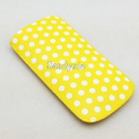 100pcs Colourful Dot Spots Pull Tab PU Pouch Case for iPhone...