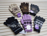 Wholesale Fashion Hot sale unisex Knitted Woolen Winter Warm Gloves floral printing