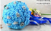 Wholesale Wedding Favors blue Wedding Bouquet Sweetheart Roses Artifical Silk Flower Bride Holding Flowers
