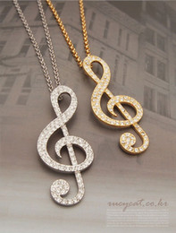 Brand New Fashion GOLD SILVER Music Note Pendant Necklace with Full Crystal MIN 10PCS Free SHipping