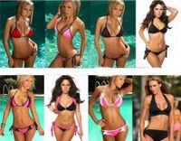 Women Bikinis Mixed color 20PCS lot Metallic Foil Pucker Bikini Swimwear Tie Side Made of Stretchy Nylon Spandex Blend Fabric