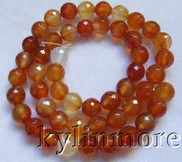 8SE09282a 8mm Carnelian Faceted Round Beads 15''