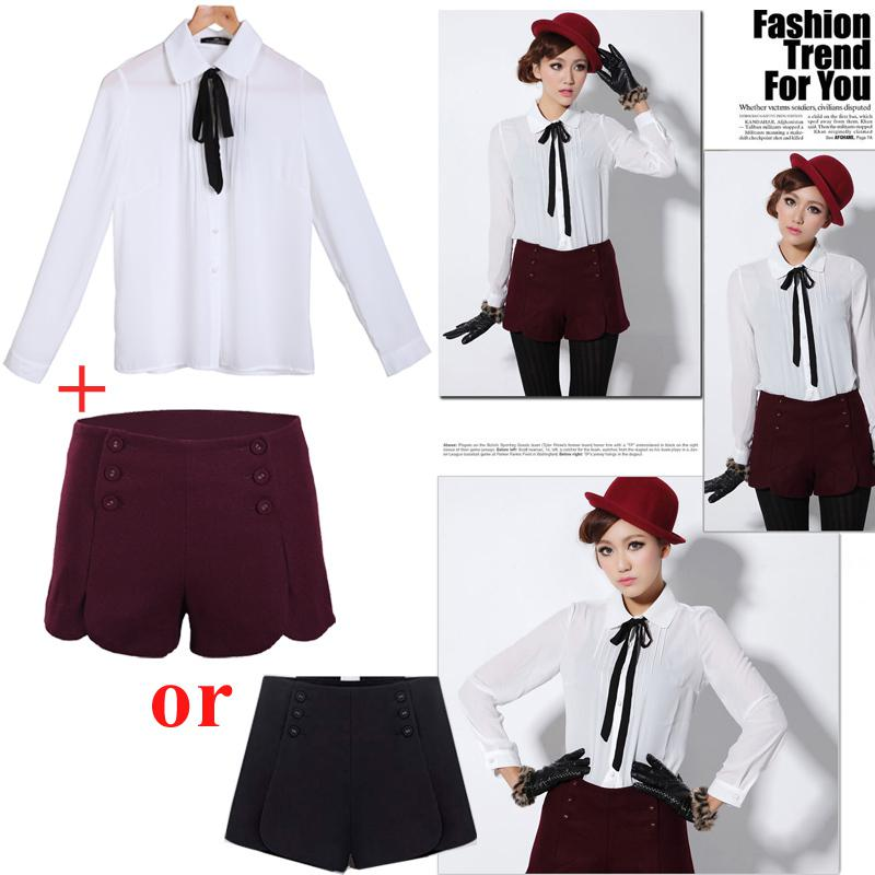 Long Sleeve Blouse With Bow Long Sleeve Bow Tie Blouse 103