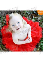 Wholesale Baby girls party or photo dress up Red Baby NewBorn Pettiskirt Pageant Dance Tutu NB M
