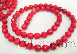 8SE05236a 6MM Red Coral Faceted Round Beads 15.5''