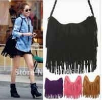 Wholesale Dropship lady bags Suede Shoulder Bag Fringe Tassel women s fashion handbag colors black bags