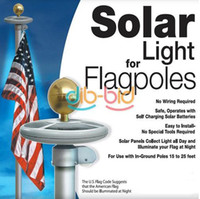Wholesale Hot Selling LED Solar Powered Garden Decor Light Top Flag Pole Flagpole Landscape Light