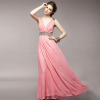 Wholesale Elegant Ladies Maxi Prom Dress V Neck Sleeveless Beaded Chiffon Formal Evening Dress Summer Pink White Cocktail Dresses