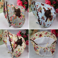 1-4years ribbon rose - 2014 Toddlers Ribbon Rose Floral Print Hat Years Girls Pretty Princess Hats Blue White Grey