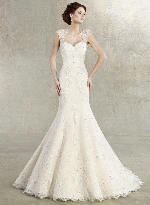 2013 Cap Sleeves Lace Mermaid Wedding Dress Keyhole Back ...