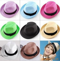 Wholesale men and women straw summer hat fedora cap jazz hat mix color