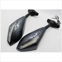 Wholesale universal fake Carbon fiber Grey and Black Motorcycle Rearview Mirrors LED turn lights new top sale