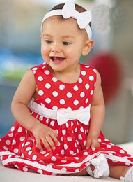 Wholesale dotted dresses one piece dress bow girls summer dress baby clothes Jumper skirt yalaifa