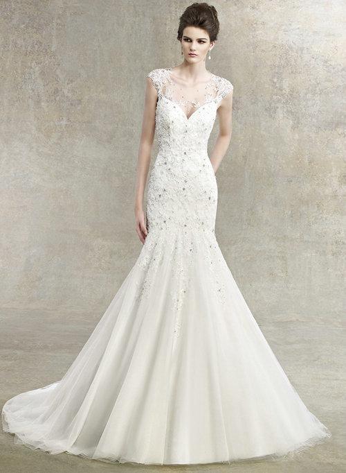 2013 Cap Sleeves Lace Keyhole Back Wedding Dress Sweetheart Chapel ...