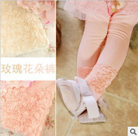 Girl cotton leggings - Girls Beige Pink Solid Leggings Kids Spring Pants Cotton Rose Lace Leggings