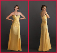 2013 Sexy Body Hugging Column Taffeta Yellow Shiny Beaded Sw...