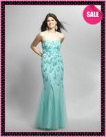 Wholesale 2013 New Sexy Spaghetti Strap Exquisite Beaded Motif Long Mint Tulle Mermaid Luxury Evening Dresses