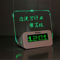 Wholesale Green LED Light LED Lamp Night Fluorescence Message Board Electronic Alarm Clock USB Luminous Clock