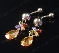 6Pc Multi CZ Bowknot Dangle Charm Navel Rings 14g Body Pierc...