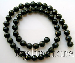 """8SE01118 8MM Faceted Onyx Round Beads 15.5"""""""