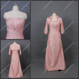 Wholesale Pink mother of the Bride Dresses with Jacket A Line Floor Length Strapless Dress for Bride s mothers